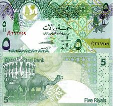 Qatar 5 Riyal Banknote World Currency Paper Money Unc Bill p29 Asia Note Camels