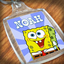 Personalised SPONGEBOB KEYRING, Lunch Bag, son daughter grandson nephew niece