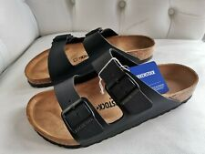 Birkenstock black faux leather 2 strap and buckle sandals New in box UK 8 Eu 42