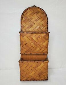 Vintage Bamboo Wall Organizer Letter Mail Holder Plants Boho Tropical Tiki
