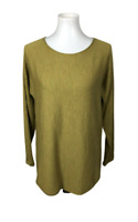 Eileen Fisher Size S 100% Merino Wool Tunic Top Ballet Neck Long Sleeve Green