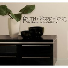 Quote FAITH HOPE LOVE Wall Stickers Inspirational Room Decals Decor Black Letter