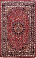 Excellent Vintage Red Meshad Floral Hand-Knotted Area Rug Traditional Room 6x10