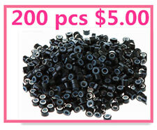 200 x QAULITY SILICONE MICRO BEADS/RINGS FOR HAIR EXTENSIONS--BLACK