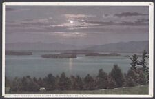 "New Hampshire, USA. ""The Same Old Moon Lights Lake Winnipesaukee"" Vintage PC"