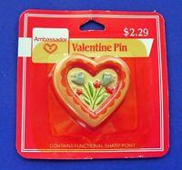 Hallmark PIN Valentines Vintage HEART FLOWERS PINK TULIP Holiday Brooch NEW