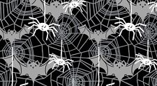 Halloween Fabric Boo Crew Black White Bats Spiderwebs Spiders GLOW IN DARK