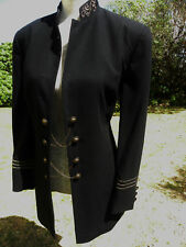 STUNNING LONGLINE BLACK JACKET,MILITARY, CUSTOMISED, STEAMPUNK, SIZE 14-16 GOTH