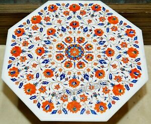 Carnelian Stone Inlay Art Coffee Table Top Octagonal Marble Patio Table 27 Inch