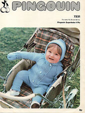 "P 7331 Vintage Baby Knitting Pattern 4 PLY 18-22"" Hat Mitts Leggings Cardigan"