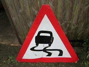 Slipper road road works sign.  traffic sign.street sign.road sign