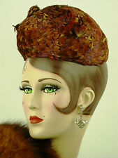 VINTAGE HAT 1930s FRENCH VERY UNUSUAL ALL FEATHER CAPLET FOUR BIRDS & HIGH FRONT