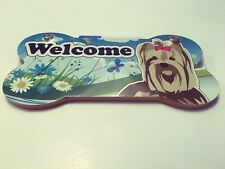 Yorkie Top Paw Welcome Wall Plaque Sign New