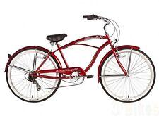 """Micargi 7 speed 26"""" Pantera Men beach cruiser bicycle bike Red"""