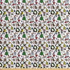 Cartoon Tessuto al metro raso Natale