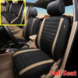 9Pcs 3MM Sponge&Polyester Universal Car Full Set Front+Rear Seat Covers Coushion