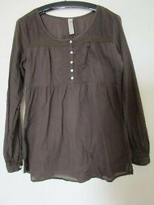 Haut chemise tunique CACHE-CACHE coton  marron femme manches longues taille 4