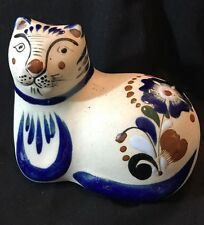 Ceramic Cat Figurine Hand Painted Made in Mexico signed by Artist Enamel Painted