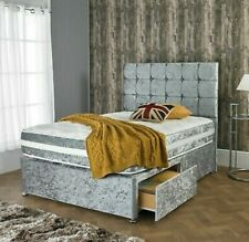 NEW CRUSHED VELVET DIVAN BED WITH MATCHING MATTRESS AND FREE HEADBOARD FRE SHIP