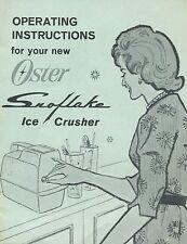 vintage Oster Snoflake Ice Crusher instructions 1965