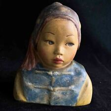 "Esther Hunt 1920s hand painted chalkware bust of Chinese boy named ""Ah Fay"""