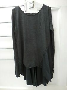 NICOLA WAITE NIC CHARCOAL GREY BLACK WOOL COTTON A LINE SWEATER TUNIC L