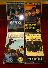 Lot of 4 Western VHS Tapes / Coyote Summer, Maverick, Tombstone, Outlaw Justice