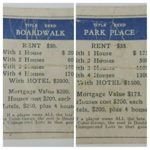 Boardwalk & Park Place Monopoly 1935 Replacement Game Property Piece