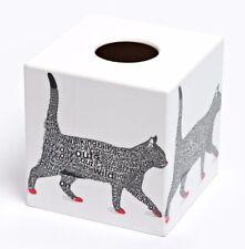Black Cat Tissue Box Cover Holder wooden decoupaged handmade in Uk