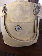 Authentic Coach Alex Signature Cream Patent Leather Tote Handbag 14265