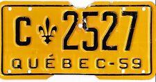 🌟🌟 🌟🌟 AUTHENTIC CANADA 1959 QUEBEC LICENSE PLATE.  C-2527