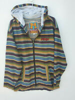 Vintage Mambo Big Wear Size S Wool Blend Stiped Hooded Zip Up Jacket