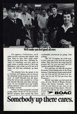 1969 BOAC AIRLINES - Captain - Pilot - Stewardess - Steward - Chef - VINTAGE AD