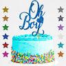 Oh Boy Gender Reveal Glitter Cake Topper Boy or Girl Baby Shower He or She