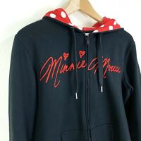 Minnie Mouse Women's Large Black Full Zip Hoodie With Ears Disney Embroidered