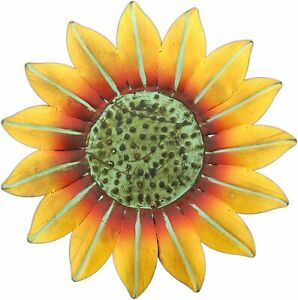 """10"""" Bright Yellow Metal Sunflower Wall Decoration, Indoor/Outdoor, by Mayrich"""
