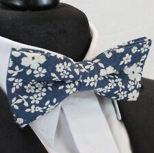 Bow Tie. Denim Blue / off white floral . Cotton Premium Quality. Pre-Tied. BV03