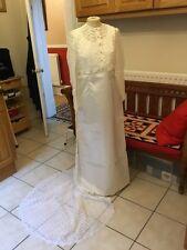 Genuine Vintage Wedding Dress Gown 60's 70's UK 8-10 Elegant White Satin & Lace
