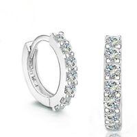 925 Sterling Silver Crystal Stone Hoop Stud Earrings Womens Girls Jewellery Gift