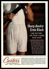 1961 Carter's Boxer Shorts Man In Underwear Holding His Rifle Vintage Print Ad