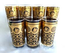 Libbey Mid Century Prudential Rock of Gibraltar Tumblers HiBall 24K Gold Set  7