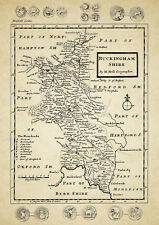 Buckinghamshire County Map by Herman Moll 1724 - Reproduction