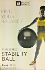 SR Sports Research Performance Stability Balance Ball Black 65 cm Pump Included