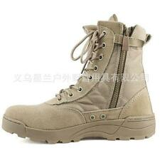 Men's outdoor desert mid calf boots lace up zip suede military combat shoes size