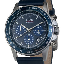 MDC Mens Quartz Wrist Watch Chronograph Military 24-Hour Dial Navy Blue Leather