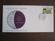 Lesotho 1980 COINS OF ALL NATIONS cover with 1s coin + stamp