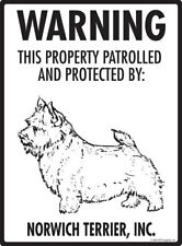 """Warning! Norwich Terrier - Property Protected Aluminum Dog Sign - 9"""" x 12"""""""