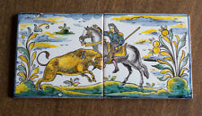 2 Vintage Hand Painted Ceramic Tiles of Bull and Horse Barcelona
