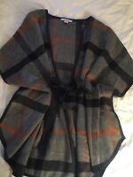 Women's Wool Plaid Poncho Vest