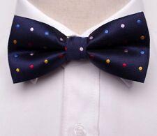 GIFTS FOR MEN Spot Polka Dot Mens Pattern Silk Party Bow Tie Navy Blue Multi